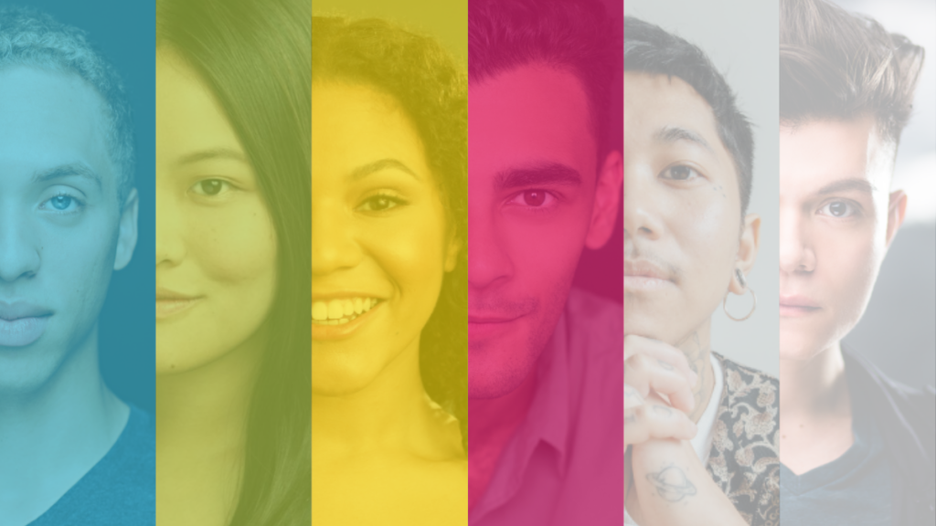 Headshots of six individuals, edited into panels showing the right half of their faces. Each panel has a different-coloured filter, as part of the SpiderWebShow brand colours - sky blue, lime green, sunshine yellow, magenta pink, light grey and stark white.